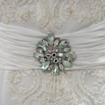 Wedding dress detail with rhinestones