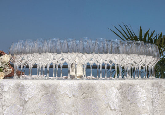 Glasses on a catering setting table
